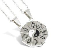 collar de gargantilla de yin yang al por mayor-Vintage Yin Yang Collar de Plata Gargantilla Cadena Declaración Pareja Tai chi Bagua Mapa Collar Colgante de Joyería de Las Mujeres Accesorios de Regalo