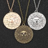 ingrosso monete d'oro azteco-Collana pirata caraibica, gioielli moda Auniquestyle Jack Sparrow moneta azteca Medaglione pendente in bronzo dorato oro vintage
