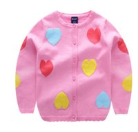 Wholesale knit girls lace cardigan - Girls knitting sweater cardigan children colorful love heart princess outwear kids lace collar long sleeve tops spring kids outwear Y9008