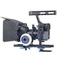 dslr stabilizatörler donanımı toptan satış-DSLR Video Film Sabitleyici Kiti 15mm Çubuk Rig Kamera Kafes + Kolu Kavrama + Takip Odak + Mat Kutusu Sony A7 II A6300 için / GH4