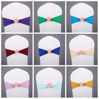 Wholesale chair cover sashes flower for sale - Group buy Multi Colors Chair Sashes Creative With Rose Flower Spandex Chairs Covers For Banquet Wedding Decorations Top Quality hm CB