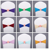 Wholesale chair top covers - Multi Colors Chair Sashes Creative With Rose Flower Spandex Chairs Covers For Banquet Wedding Decorations Top Quality 2 5hm CB
