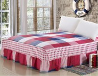 Wholesale red blue bedspreads resale online - Beige Red Blue Cotton Bed Skirt Mattress Cover Petticoat Twin Full Queen King Bed Skirts Bedspread BEDSKIRT cm Cover