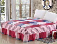 königin bettdecke blau großhandel-Beige Rot Blau Baumwolle Bett Rock Matratzenbezug Petticoat Twin Full Queen King Bett Röcke Tagesdecke Bettdecke 200 * 220cm Bezug