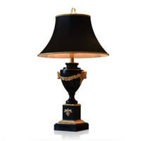 Wholesale black modern table lamps for sale - Group buy Marble large table lamp Living room table lamp black luxury villa Hotel bedroom bedside classical table lamp