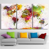Wholesale painting thick - Abstract Pictures 3 Pieces Color World Map Paintings Wall Art Modular Posters Framework Home Decor HD Prints Canvas Living Room