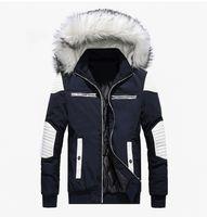 chaquetas con capucha de piel larga para hombre al por mayor-Mens grueso abrigos para el invierno 3 colores de piel con capucha delgada chaquetas de moda Panalled largas Trajes de manga libre de envío abrigos de invierno