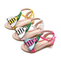Wholesale toddler girl size 11 shoes - Cute Little Bee Girls Sandals Kids Summer Baby Girls Sandals Shoes Skidproof Toddlers Children Kids Flower Shoes Size