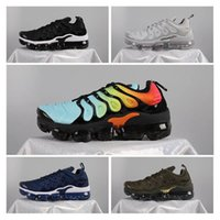 Wholesale Cheap Cargos - Cheap VaporMax Plus Cargo Khaki Rainbow Men Women Running Shoes High Quality Black White Grey Blue Olive Green Sports Sneakers Size 36-45