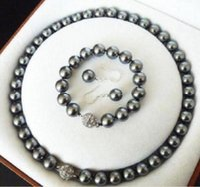amethyst grau perlenarmbänder großhandel-10mm Südsee dunkelgrau Shell Perlenkette + Armband + Ohrring-Set
