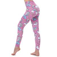 niedliche frauen strumpfhosen großhandel-Yoga Sport Leggings Einhorn süß rosa Trainingshose Hose Gym Kleidung Lauftraining Strumpfhose Damen für 3 Farben Fitness