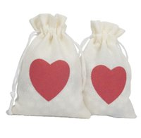 Wholesale gift bags 15cm resale online - 10 CM Christmas Gift Bag With Red Heart Wedding Drawstring Candy Bag Party Decoration Supplies Environmental Jewelry Storage Bag KKA5853
