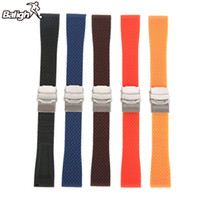 Wholesale 18mm Silicone Watch Strap - 18mm, 20mm, 22mm, 24mm New Silicone Rubber Watch Strap Band Deployment Buckle Waterproof BLack Fashion Watchband 5 colors