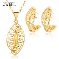 hintli boncuklar kolye toptan satış-CWEEL Takı Setleri Hint Düğün Afrika Boncuk Takı Seti Kolye Küpe Dubai Etiyopya Kostüm Mücevher Seti