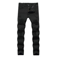 брюки черные мужские оптовых-2017 Mens Jeans White Black Ripped Biker Jeans With Holes Skinny Slim Fit Destroyed Distressed Denim Trousers For Male Pants