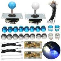 codificador usb al por mayor-Kits de cero retardo arcada de la palanca de bricolaje Kit de piezas con LED Push Button + Joystick + cables de encoder USB juego de arcade de bricolaje