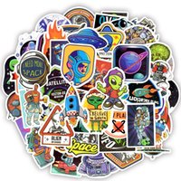 Wholesale wholesale space toys online - 50 Waterproof Universe UFO Alien ET Astronaut Stickers Toys for Kids Space Decals for Teens DIY Car Luggage Scrapbook Skateboard Bike