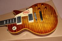 sarı pimler toptan satış-1959 R9 Yağ Alev Maple Top Tütün Sunburst Elektro Gitar Sarı Vücut Bağlama, Tek Parça Boyun (Eşarp Ortak Yok), Küçük Pin Tonepro Köprüsü