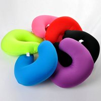 подушка для отдыха шеи для путешествий оптовых-New Colorful Inflatable Travel Pillow Air Cushion Neck Rest U-Shaped Rest Compact Plane Flight Home textile