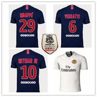 Wholesale foot patches - 2018 19 Paris soccer jersey with ligue 1 patch 18 19 mbappe CAVANI PSG home football shirts survetement maillot de foot customiz