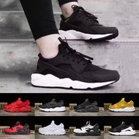 Wholesale Yellow Canvas Shoes Men - 2018 Huarache 1.0 running shoes Triple white black red Huraches 4.0 IV gold grey Running trainers men women outdoors Huaraches sneakers