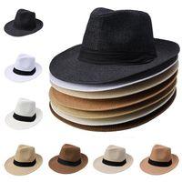 Wholesale wide brim black hat women for sale - Group buy Men Women Straw Wide Brim Hats Jazz Caps Belt Decorative Summer Beach Hats Sun Fedora Caps J069