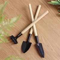Wholesale garden tools for sale - Mini Gardening Planting Tools Three Piece Set Portable Multi Function Pine Soil Shovel Rake Spade Wooden Household zh Ww