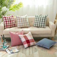 Wholesale Air Conditioned Pillow - Nordic GEOMETRIC Pattern Lattice cotton linen pillow quilt multi-functional cushions Japanese portable car Sofa air condition blanket