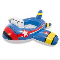 Wholesale baby swim car resale online - Cartoon Baby Swimming Pool Swim Seat Ring Floats inflatable infant swim boat children water sport toy inflatable kids plane car mattress