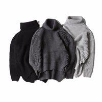 Wholesale korea man sweater - Korea hiphop Autumn winter kanye west high collar knit sweater both sides Split fork sweater men women sweater 3 color M-XL