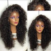 ingrosso parrucche sintetiche nere e nere-Alta qualità 1b # 6 # nero marrone parrucche crespi ricci con capelli del bambino resistenti al calore parrucche glueless parrucche sintetiche anteriori per le donne nere