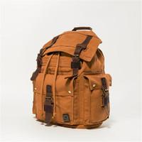 Wholesale retro school backpacks resale online - 2 Color Men s Retro Canvas Leather Backpack School Bag Outdoor Travel Camping Hiking Rucksack Shoulder Bag