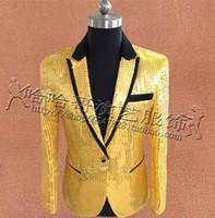 ingrosso abbigliamento giubbotto giallo-Yellow Paillettes Blazer Uomo Abiti Disegni Homme Terno Costumi teatrali per cantanti Giacca Abbigliamento uomo Danza Star Style Fashion