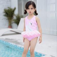sevimli korean mayo toptan satış-Kuğu Dantel Bebek Kız Mayolar Kore Karikatür Fırfır Tül Elbise Yaz Çocuk Yüzme Sevimli Çocuklar beachwear Kız Mayo C3275