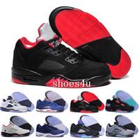 5s cuero genuino al por mayor-Metallic Black 5 5S de calidad superior de los hombres al por mayor de cuero genuino descuento zapatos de baloncesto envío gratis