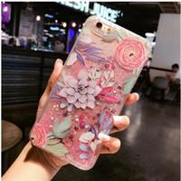 móvil de manzana coreano al por mayor-Corea del flamenco en relieve brillante arena telón de móvil de la cáscara de la personalidad líquida cubierta protectora