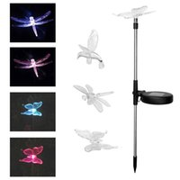 Wholesale Led Solar Butterfly Lights - Solar Energy Plugged Lawn Lamp Butterfly Dragonfly Hummingbird LED Light Colorful Courtyard Decorative Lamps Glowing In The Dark 8 8wn Y