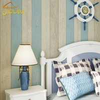 contact paper rolls NZ - Wholesale- Mediterranean Wood Stripe Non-woven Bedroom Wallpaper 3D Fabric Contact Wall Covering Roll Soundproof Modern Kids Wall Paper