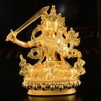statue d'or tibétaine achat en gros de-Bouddhisme Tibétain Fournitures En Gros Plaqué Or Tantrique Petit Bouddha Statue de Accessoires de Voiture Décoration Manjusri Bodhisattva Bouddha Statue