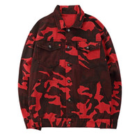 Wholesale jean hooded jacket women - Men Red Camo Camouflage Denim Jackets Women Hip Hop Casual Denim Jean Jacket Coats Male 2018 Autumn Fashion Streetwear
