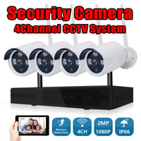 sistemas de videovigilancia inalámbricos al por mayor-Sistema de cámara CCTV Wireless 4CH 1080P NVR Kit de cámara Wifi Video de vigilancia Smart Home Security IP Cam Kit al aire libre