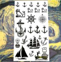 tatuaje de ancla pegatina al por mayor-SHNAPIGN Marine Pirate Anchor Tatuaje Temporal Body Art Brazo Destello Tatuaje Pegatinas 17 * 10 cm Impermeable Falso Henna Etiqueta Sin Dolor