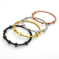 charme en fil d'or achat en gros de-Marque Vis Amour Bracelet Titanium Acier Bracelets Hommes avec 6 Vis Fil Acier Rose Or Bracelets de Charme pour les Femmes et Amour Bijoux cadeau