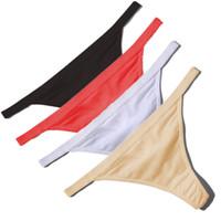 g dizgin kadınlar sıcak siyah toptan satış-Sıcak Satış Seksi Kadınlar Pamuk G Dize Thongs Düşük Bel Seksi Külot Bayanlar Dikişsiz Iç Çamaşırı Siyah Kırmızı Beyaz Cilt