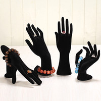 Wholesale Mannequin Hand Display - 1 Piece Jewelry Mannequin Ok Hand Finger Glove Ring Bracelet Bangle Display Stand Holder Jewelry Holder Hand Black