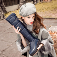 Wholesale wholesale thigh high boots - new high quality down warm snow boots women round toe platform thigh high boots fashion zipper over the knee bootsMD-024