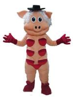 sombrero negro adulto al por mayor-2018 Descuento venta de fábrica Buena visión y buena ventilación Un disfraz de mascota de cerdo con sombrero negro para que los adultos usen