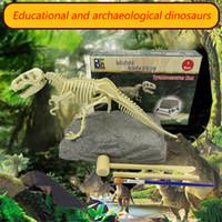 armar kits de juguete al por mayor-Digging A Dinosaur Science Kit Excavación Dinosaurio y armar un esqueleto T-Rex Ensamblar esqueleto Dinosaurios Kits de excavación juguetes para niños