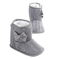 ingrosso scarpe da neve antiscivolo-Moda Caldo Bambino Neonata Bow Snow Boots antiscivolo Soft Sole Prewalker Culla Scarpe