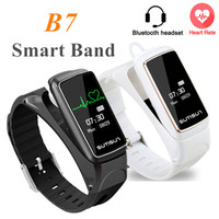 Wholesale Persian Style - B7 Smart Band Bluetooth Earset Style Smart Bracelet Fitness Heart Rate Tracker Waterproof For iPhone Samsung Smartphone